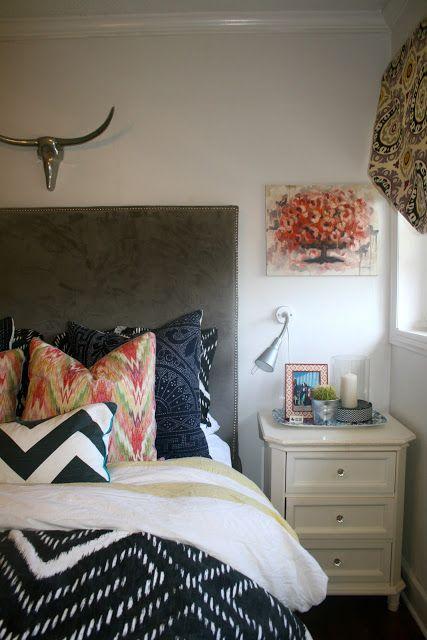 pattern/texture love! suzani, ikat, target, DIY bed, DIY roman shade, Ikea, metal taxidermy, west Elm