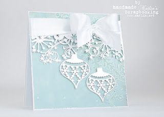 Memory Box snow flake border and ornaments in white make a cool and beautiful winter/Christmas card...