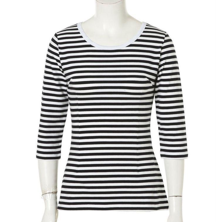 Women Sailor White Black Stripe Retro Top 3/4 Sleeve Shirts Rockabilly Clothing