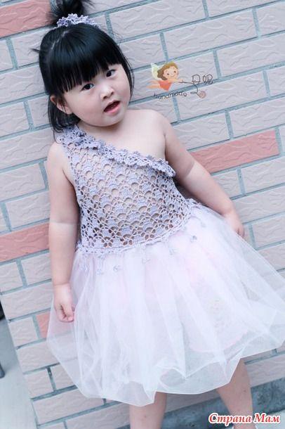 Женское платье крючком комбинированное с тканью схемы