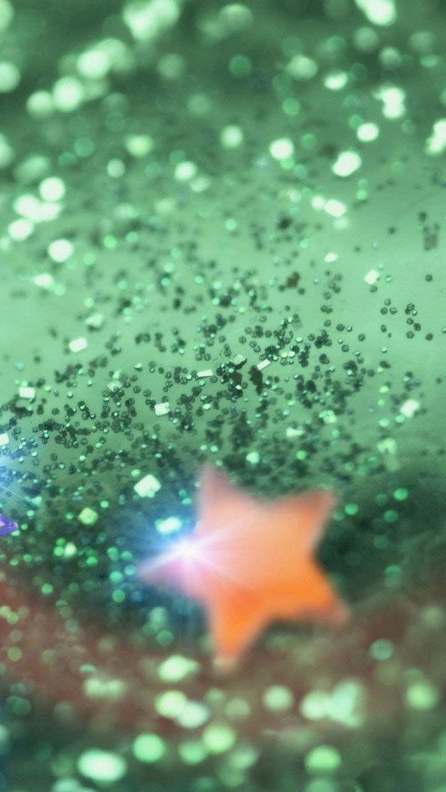 iphone wallpapers background - pale green glitter with one gold star