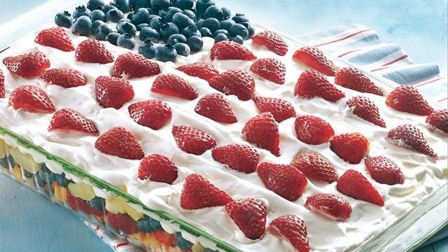 Layered Fruit Flag Salad Recipe INGREDIENTS 2 cans (8 oz each )