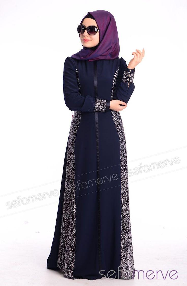 Tesettür Elbise FY 52159-01 Lacivert