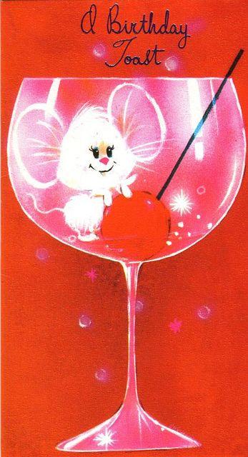 ┌ⅲii┐                                                            Happy Birthday 1970s Greeting Card - A Birthday Toast