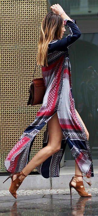 #boho #fashion #spring #outfitideas | Scarf print maxi dress