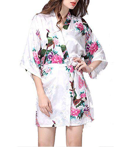Women s Robes Peacock Blossoms Kimono Silk Nightwear Short Style - LARGE 33976daf8