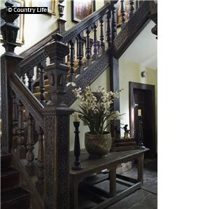 Jacobean 17th century staircase at Plas Teg, Pontblyddyn, Flintshire, Wales.