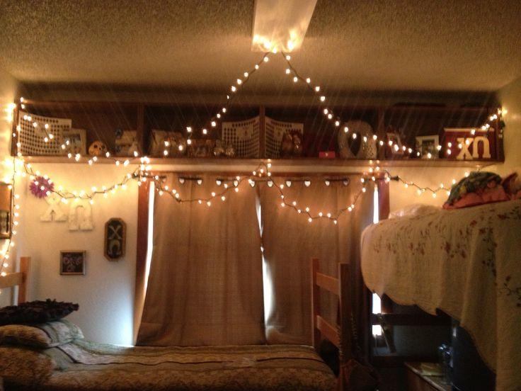 College Dorm Room Decor ΧΩ Beautiful Lights And Drapes Set Up // Dorm Room Part 60
