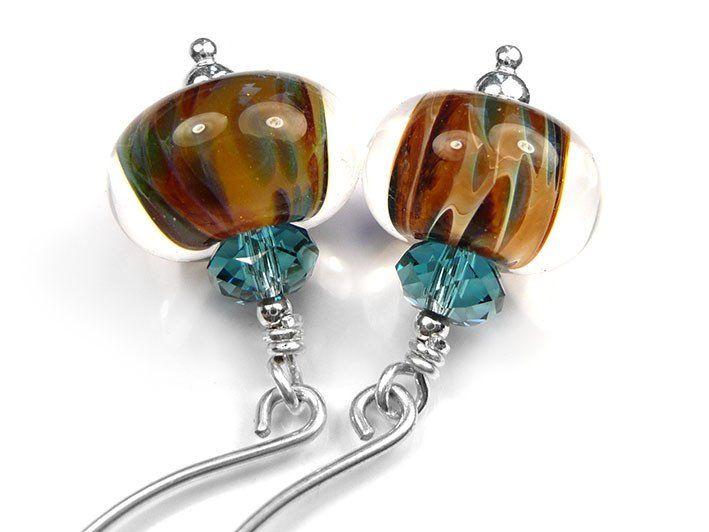 Lampwork Glass Earrings - Ginger Teal