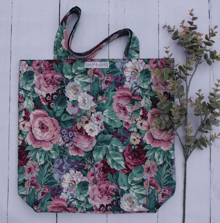 gorgeous fall floral tote bags handcrafted from repurposed materials and reversible...slow fashion at its finest, for all your carryables