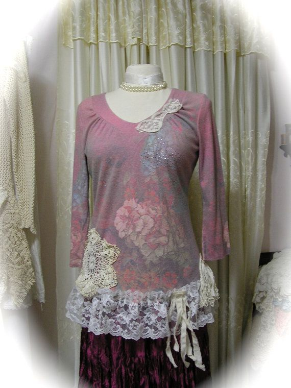 Shabby Cottage Blouse French garden florals, soft pink liliac hues by Dede of TatteredDelicates
