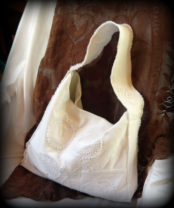Handmade by Judy Majoros-w White denim bag. Crochet bag. Hobo bag. Recycled bag.