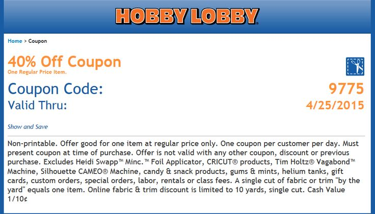 Pinned April 22nd: 40% off a single item at Hobby #Lobby or online via promo code 9775 #coupon via The #Coupons App