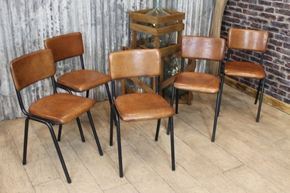Buffalo Leather dining chairs £195.00 each . Lovely Old Skool look.