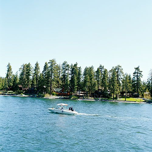 Big Bear Lake fishing and swimming scene