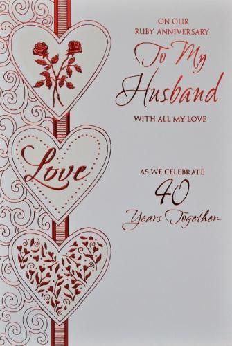 homemade anniversary cards for husband | Husband Ruby Anniversary Card