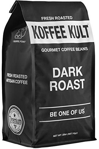 Koffee Kult Dark Roast Coffee Beans - Highest Quality Gourmet - Whole Bean Coffee - Fresh Roasted Coffee Beans, 32oz.    Dark broil entire espresso beans, Fresh without oil on beans not stale with oil from sitting on the rack. This is a similar gourmet entire bean espresso that we serve in our retail stores. Measuring Notes: enormous body, adjusted medium acridity. with a fresh sweet wrap up. No oil on beans. Measuring Notes: Heavy Body, Smooth, Cinnamon, Bright with a long finish  Voted #1…