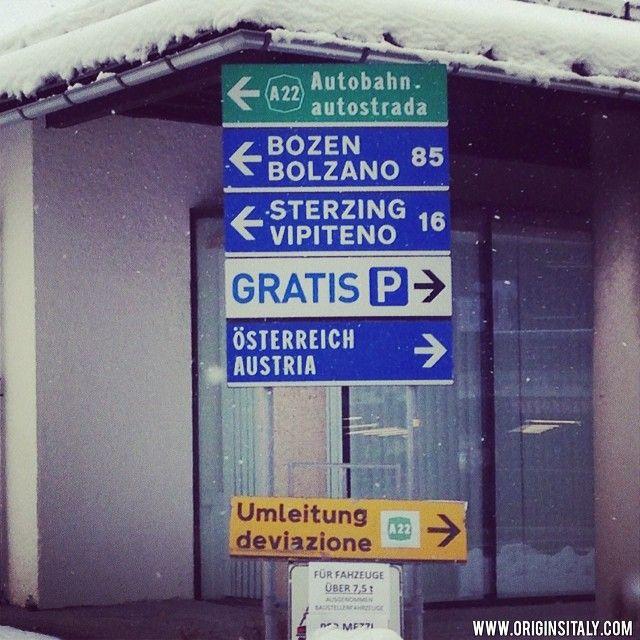 Bilingual road signs. Province of Bolzano, Italy. ORIGINS ITALY. www.originsitaly.com #italy #italia #italian #italiano #tedesco #german #autostrada #genealogy #genealogia #familyhistory #family #travel #bolzano #altoadige #austria #osterreich #bozen #sterzing #vipiteno #autobahn #travel #road #street #highway #reststop #snow #neve #winter #norditalia #northernitaly #italie