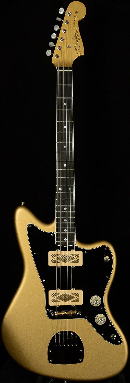 Custom Shop Jazzmaster with gold foil pickups and no trem. Not entirely sure why you'd want to dispense with the best tremolo system on the planet, but there you go.....