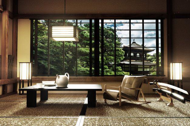 Interior Design Modern Living Room With Katana Lamp Tatami