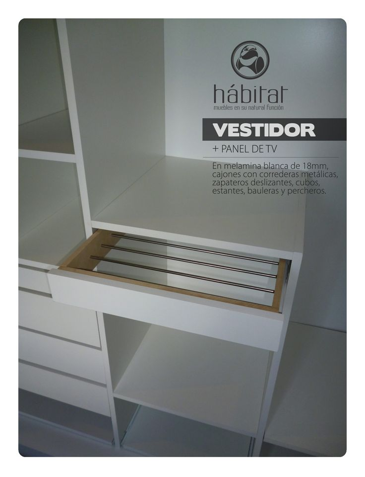 VESTIDOR + PANEL DE TV: en melamina blanca de 18mm, cajones con correderas metálicas, zapateros deslizantes, cubos, estantes, bauleras y percheros.