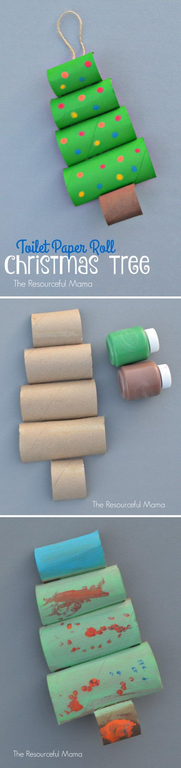 Toilet Paper Roll Christmas Tree Craft.