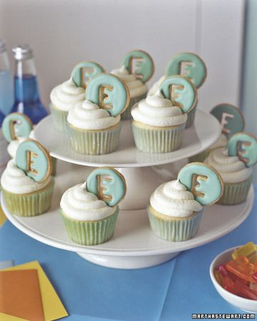 Vanilla Letter Cupcakes...adorable!
