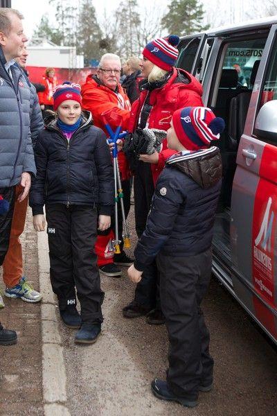Noblesse et Royautés:  Royals at the Nordic World Ski Championship, Falun, Sweden, February 27, 2015-Princess Ingrid Alexandra, Crown Princess Mette-Marit, and Prince Sverre Magnus