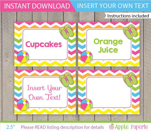 Pool Table Tents / Pool Party Food Labels /  Kids Pool Party Food Tents / Pool Party Printable / Pool Decoration / INSTANT DOWNLOAD by ApplePaperie on Etsy https://www.etsy.com/listing/190210739/pool-table-tents-pool-party-food-labels
