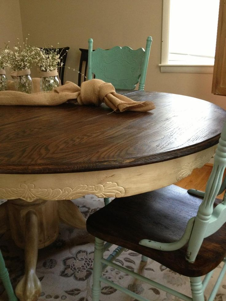 two tone country kitchen table chairs i wonder if neil would let me rh pinterest com