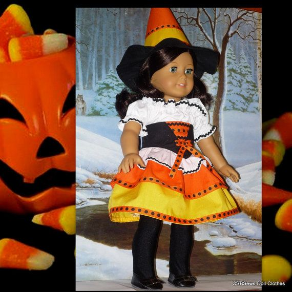 American Girl Doll Candy Corn Halloween Witch Costume With