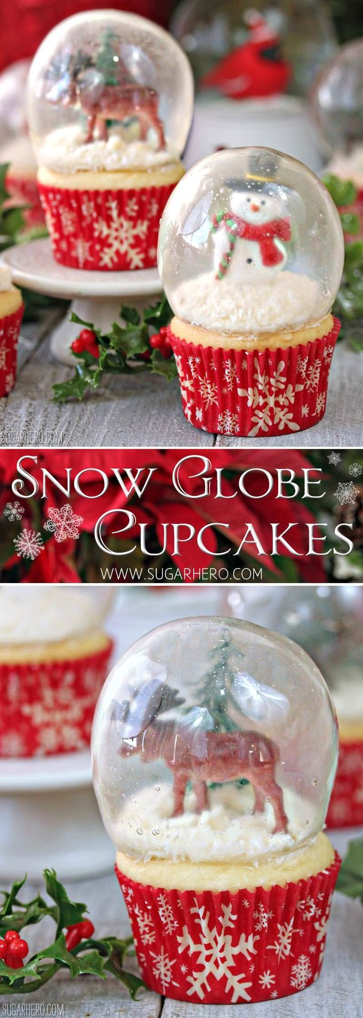 Snow Globe Cupcakes - the BEST Christmas cupcakes! Made with gelatin bubbles, so the entire cupcake is edible! | From http://SugarHero.com