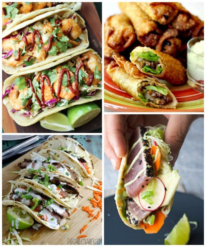 Paleo Bang Bang Shrimp Tacos, Taco Egg Rolls with Avocado Cream Sauce, Flank Steak Tacos with Cilantro Lime Yogurt Sauce, and Black Sesame Seared Ahi Tuna Tacos  - 52 Weeks of Taco Tuesday Recipes