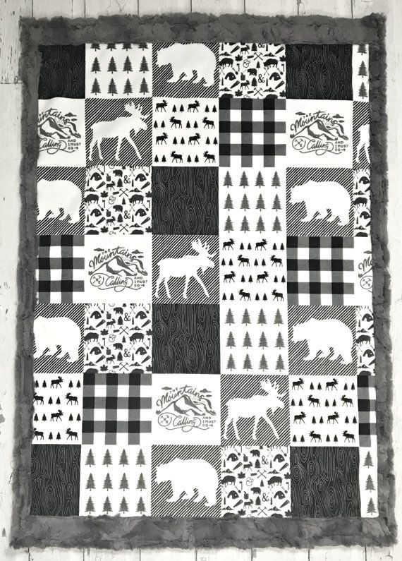 This stunning baby blanket has minky on both sides and would be perfect for any lumberjack, outdoor or woodland themed nursery. The top side