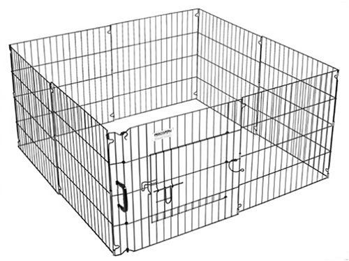 """$61.18-$79.99 The Ultimate Exercise Pen (UXP) from Precision Pet is constructed with solid steel and has a durable Black Epoxy finish.  Each UXP pen consists of (8) 2 foot wide panels, a pass-through locking door and a carry handle.  Heights range from 24"""" to 48"""" tall."""