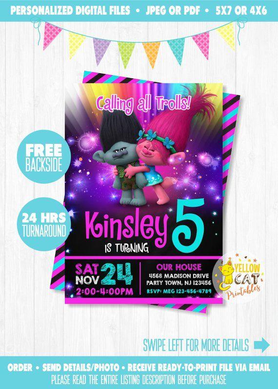 Trolls Birthday Invitation Party Theme Poppy Neon Glow Personalized Printable Digital