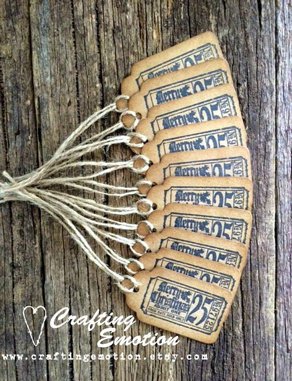 Rustic Handmade Christmas gift tags Hang tags by Crafting Emotion $7.50AUD
