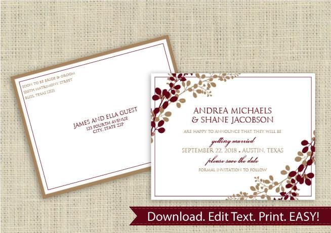 Save-the-Date Postcard - DOWNLOAD Instantly - EDITABLE TEXT - Exquisite Vines (Burgundy & Burlap) 5.5 x 4.25 - Microsoft Word Format