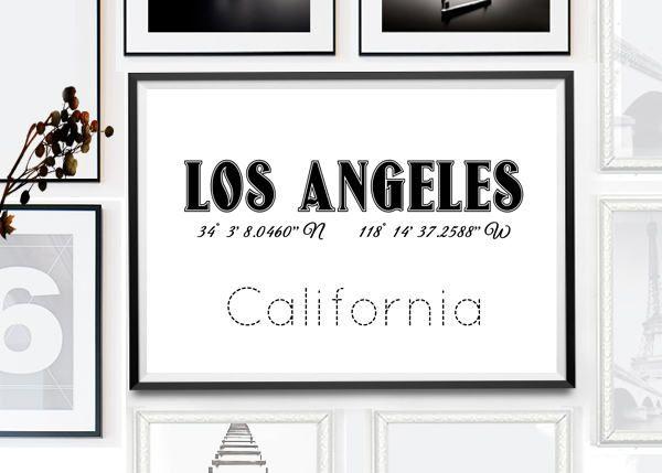 Los Angeles Print, LA poster, LA printable, LA, Los Angeles, Los Angeles Printable Wall Art, Los Angeles City Sign, California Wall Print by PrintsHomeDecor on Etsy