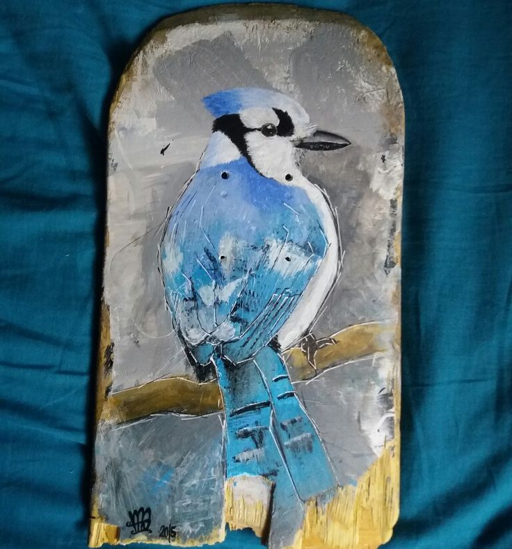 Jay bird painted in acrylic on snapped skateboard by NAS