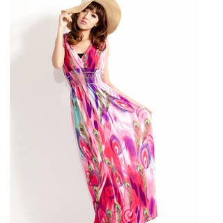 Buy 'CUTIE FASHION – Patterned Sleeveless Maxi Dress' at YesStyle.com plus more Taiwan items and get Free International Shipping on qualifying orders.
