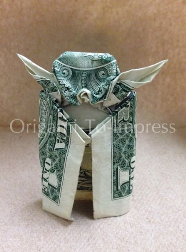 Cash Money Graduation Gift Ideas:  One Dollar Bill Money Origami of Star Wars Yoda by Origami To Impress @ Etsy