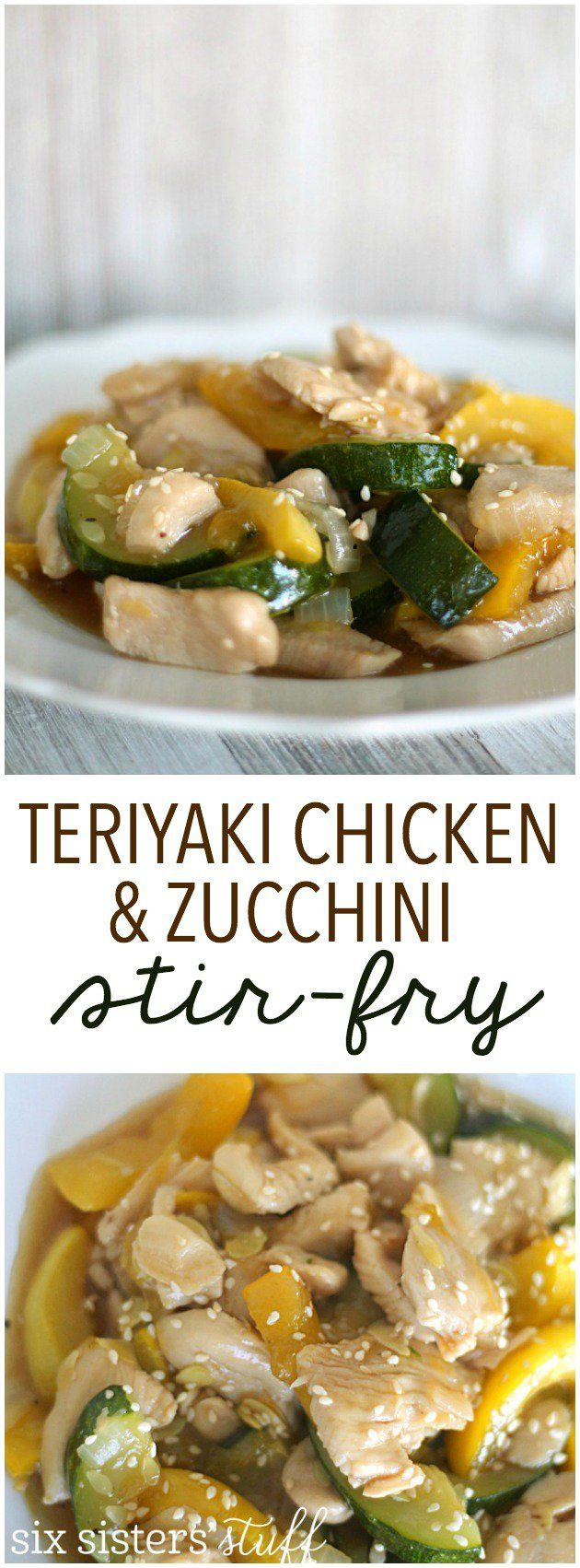 Teriyaki Chicken & Zucchini Stir-Fry Recipe from SixSistersStuff.com. An easy, healthy meal full of protein and vegetables!