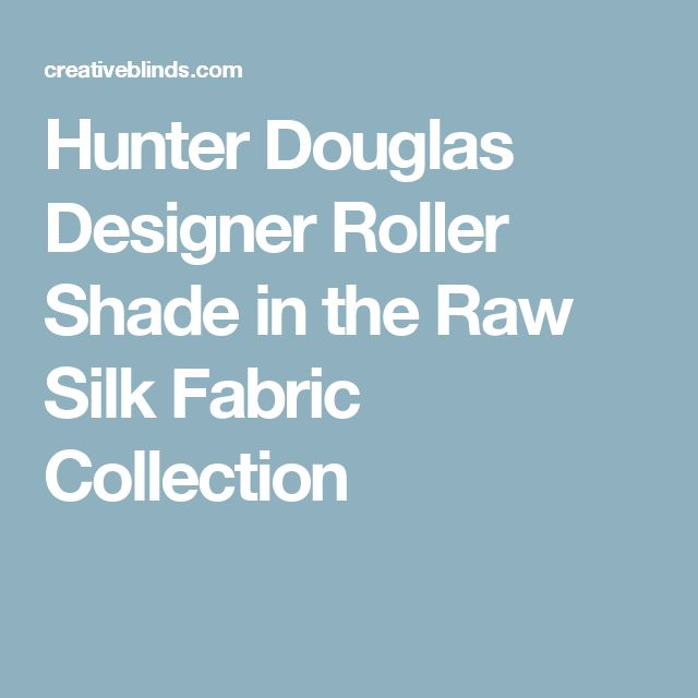 Hunter Douglas Designer Roller Shade in the Raw Silk Fabric Collection