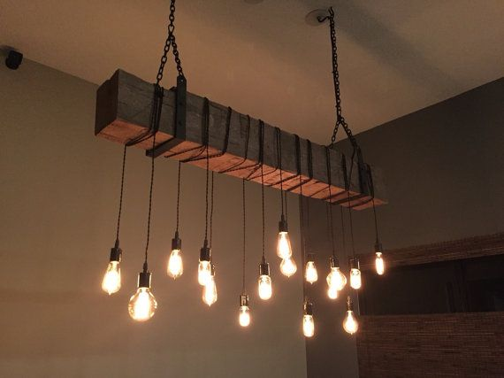 """48"""" Reclaimed Barn Beam Light Fixture With Hanging"""