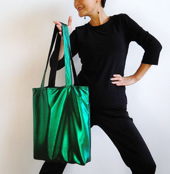 Metallic Shiny Green Tote Bag  Reversible   FREE by lilyshih, $25.00