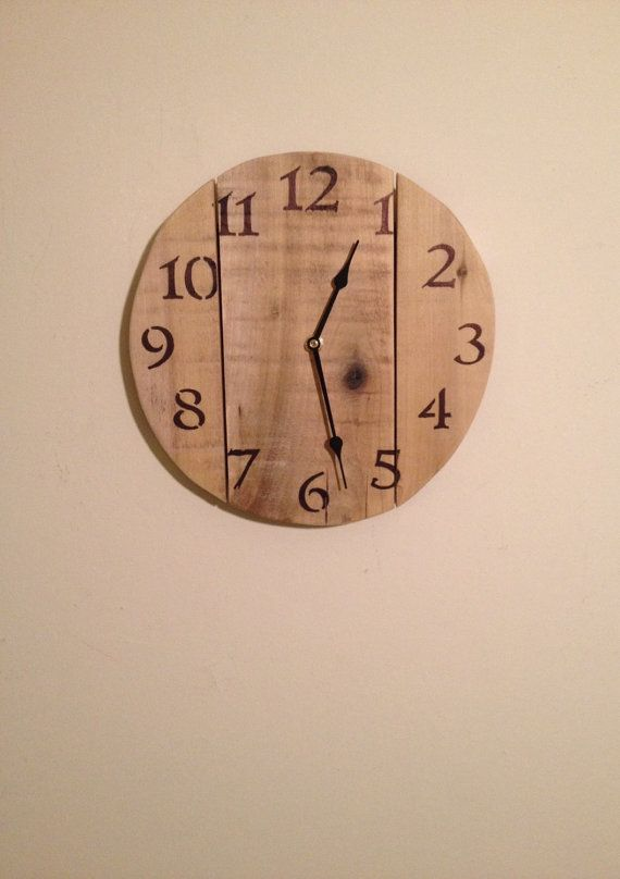 Rustic Bare Pallet Wood Wall Clock reclaimed by SheltonWoodworks
