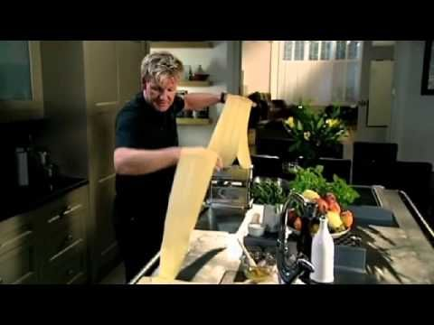 Pasta recipe for spinach, ricotta and pine nut ravioli with sage butter by Gordon Ramsay