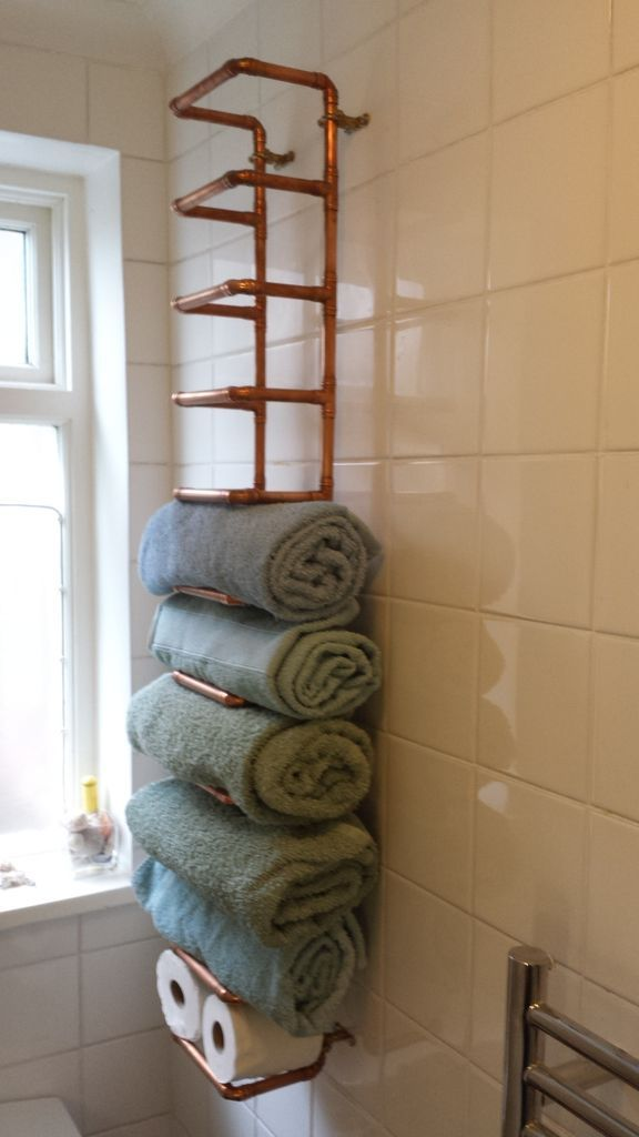 Copper Pipe Towel Rail #bathroom #storage #organization #industrial