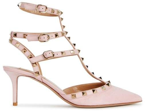 5961e68c16da Valentino Rockstud 65 Pink Suede Pumps - rose soft pink rockstud pumps